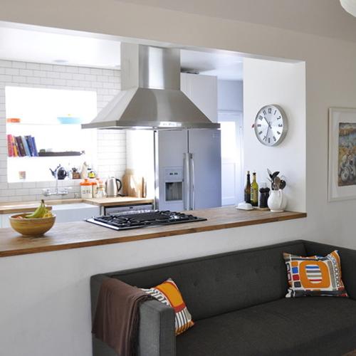 Galley Kitchen With Half Wall: Installing Air Exhaust Circulation For Kitchen / FresHOUZ.com