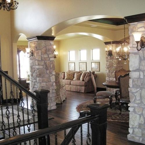 Best Home Interior With Stone Pillar
