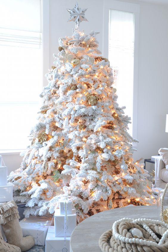 Flock Christmas Tree With Lights And Gilded Pinecones - FresHouz