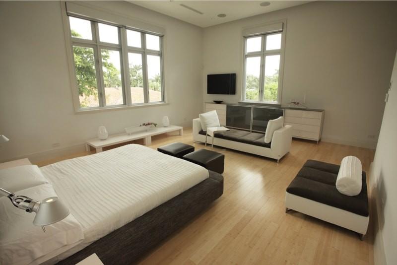 Modern stylish furniture in a wood floor bedroom