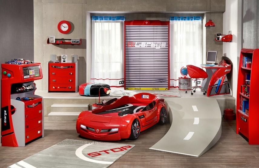 Red Car Bed Kids Room