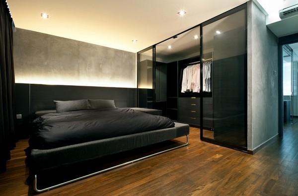 Blackbedroom idea natural wood flooring