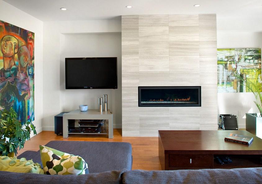 Asymmetrical Overhaul Fireplace Design