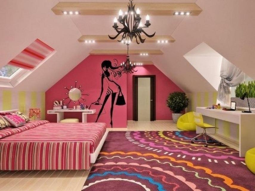 Детская комната со скошенным потолком интерьер