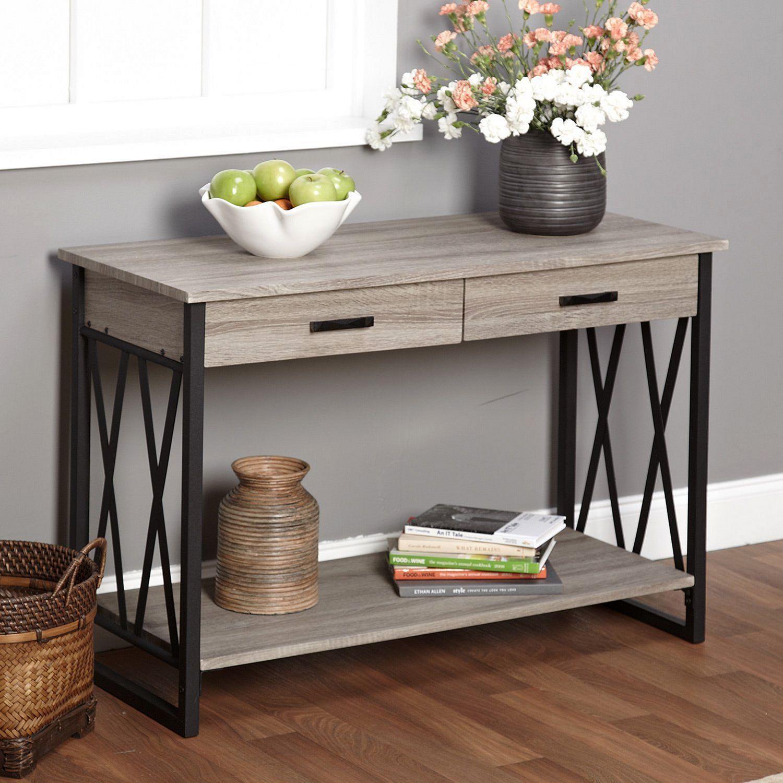 Grey reclaimed wood sofa table grey reclaimed wood sofa for Sofa table grey