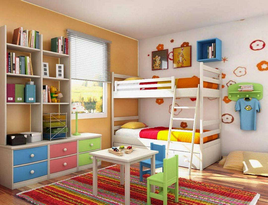Дизайн детской комнаты для двоих детей дверь напротив окна