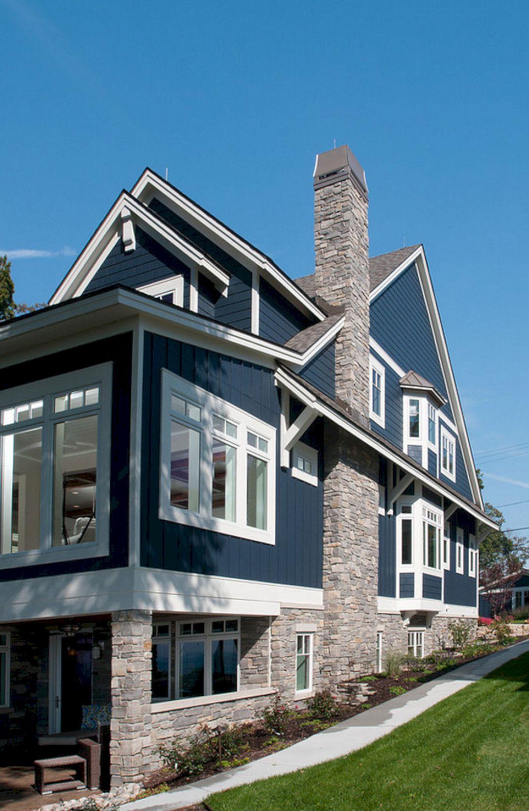 Navy Blue Exterior House Colors Idea Navy Blue Exterior